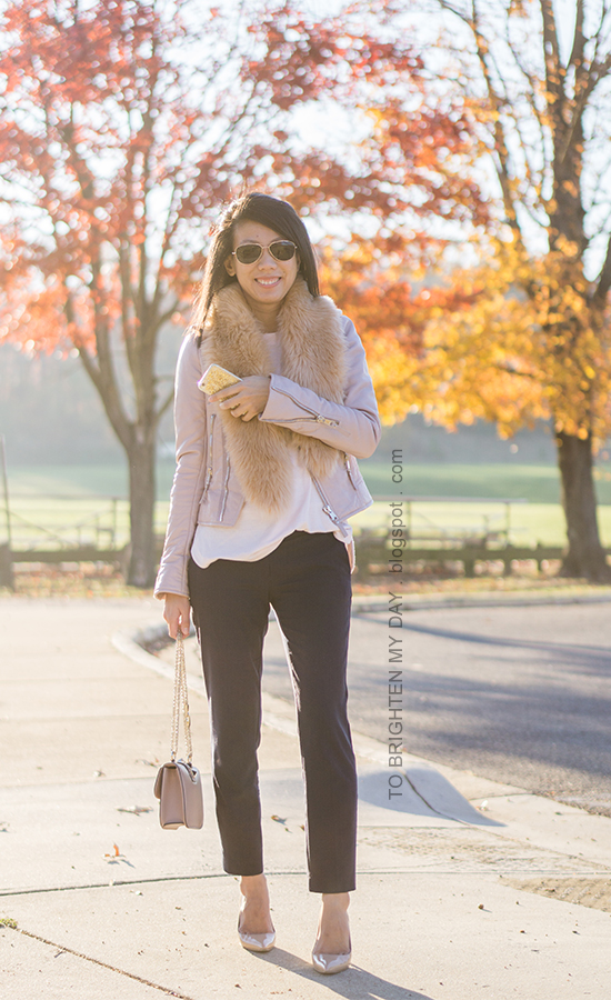 faux fur scarf, lilac pink leather jacket, light pink sweater, navy pants, nude bag, nude patent pumps