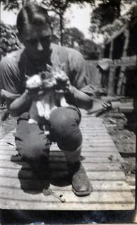 Captured kittens & Pvte Pearson, Officer's Orderly