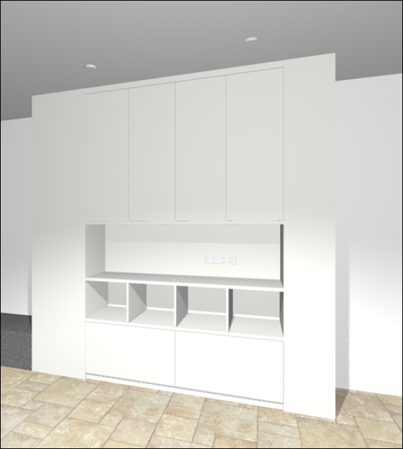 Living room cupboard render