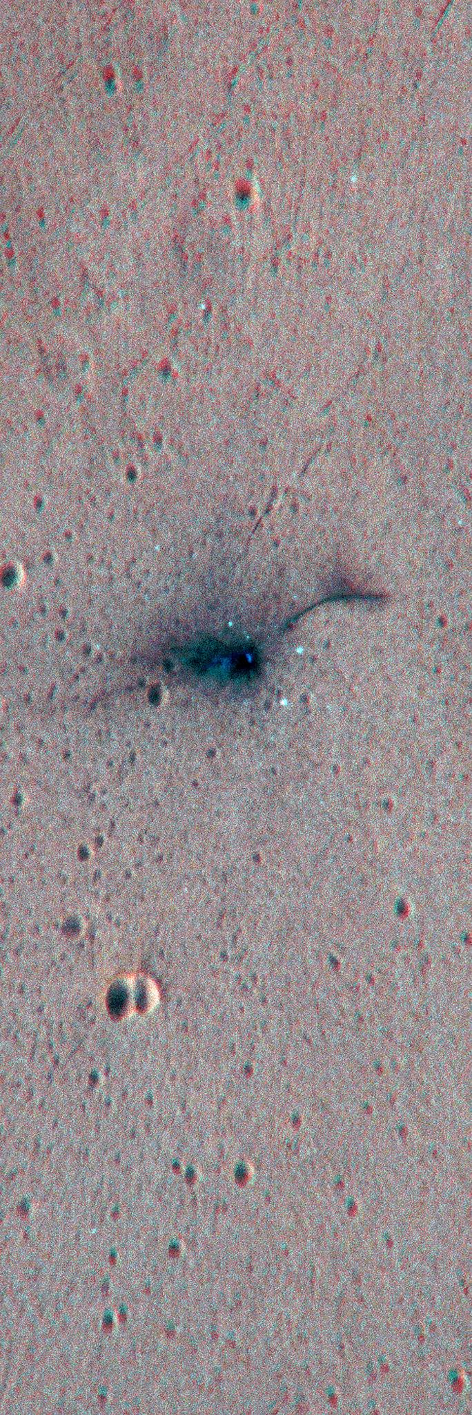 ExoMars Schiaparelli - ESP_048041_1780 ESP_048120_1780 EDM anaglifo, dettaglio ingrandito