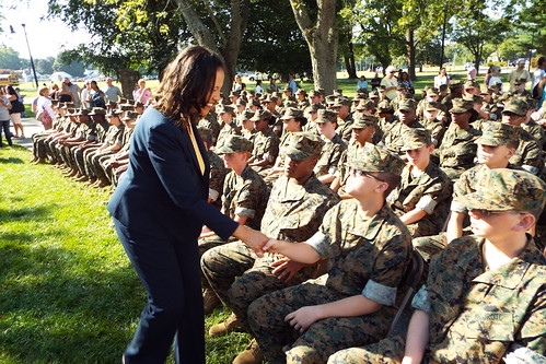 USDA Under Secretary for Rural Development Lisa Mensah greeting cadets at First State Military Academy in Clayton, Delaware