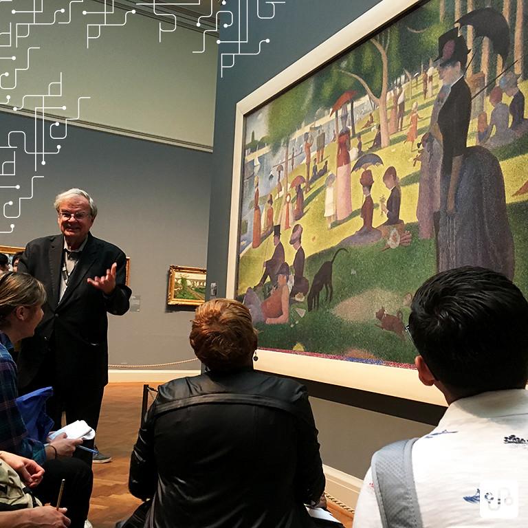 Professor Joseph Cunniff, em uma aula sobre pós-impressionismo