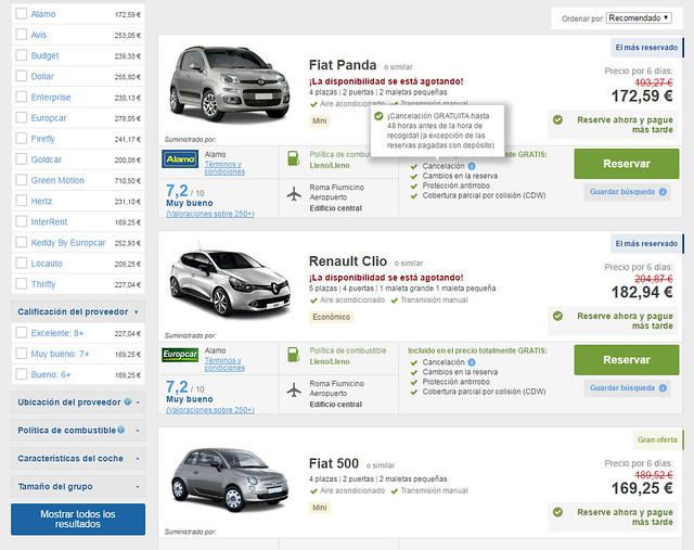 Listado de coches de alquiler económicos para Italia