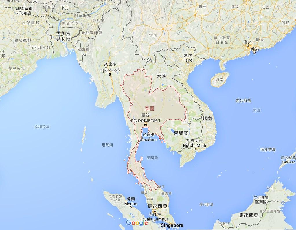 位於馬來半島的泰國南部,與泰國北部具有相當不同的文化、歷史、信仰。(圖片來源:Google map)