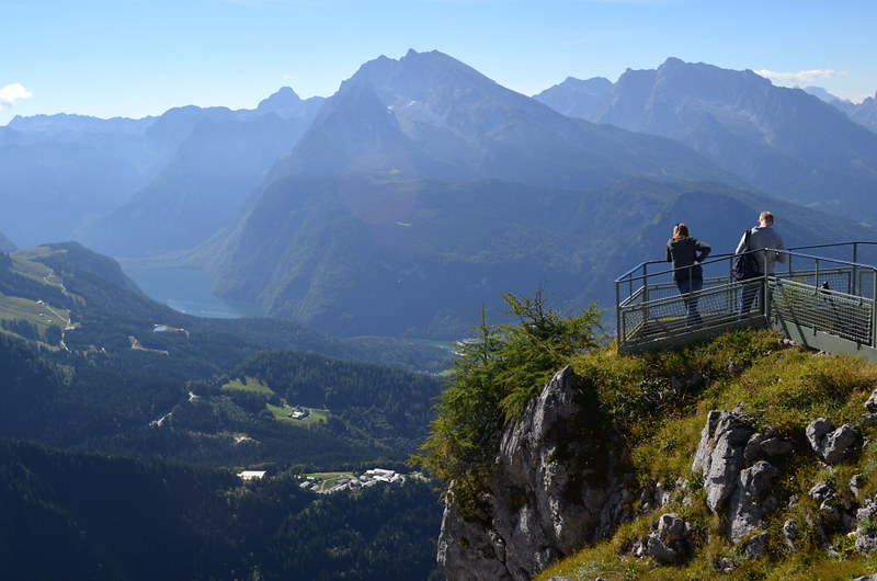 View over Lake Königssee (far L) from Kehlsteinhaus or Eagle's Nest, Berchtesgaden, Bavaria