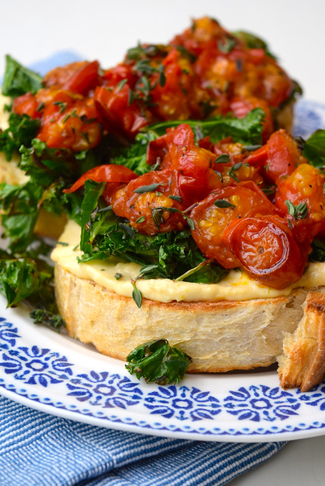 Hummus, Crispy Kale & Thyme Roasted Tomato Toast | www.rachelphipps.com @rachelphipps