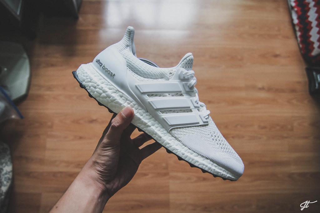 Adidas Ultra Boost Triple White On Feet