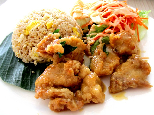 Buttermilk chicken with fried rice