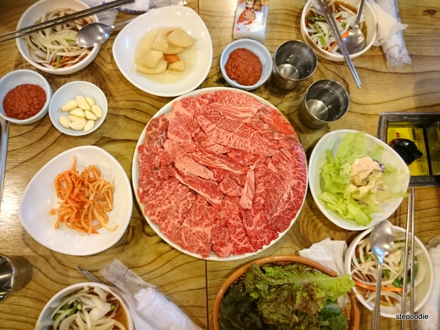 Ribeye and banchan
