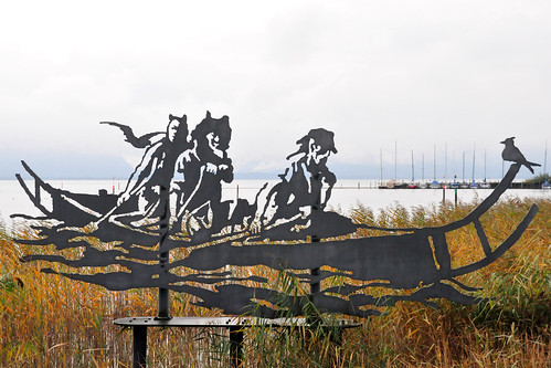 Kunst Künstler Walter Angerer der Jüngere Seebruck Siegsdorf Keltenboot Mammutjagd Fraßbildtechnik Foto Brigitte Stolle Oktober 2015