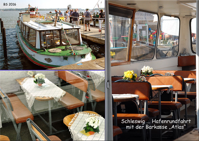 Schleswig Schlei Hafenrundfahrt Stadtführung Barkasse Atlas Kapitän Wolf Mehl Geschichten Sehenswürdigkeiten ... Fotos und Fotocollagen: Brigitte Stolle 2016