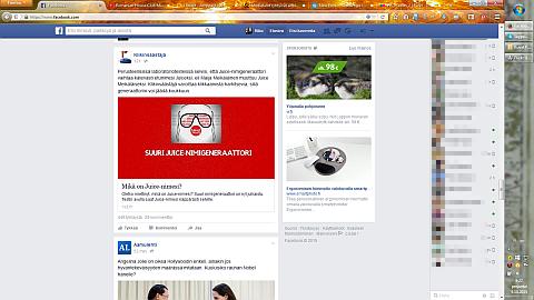 Kuva mainoksista Facebookissa.