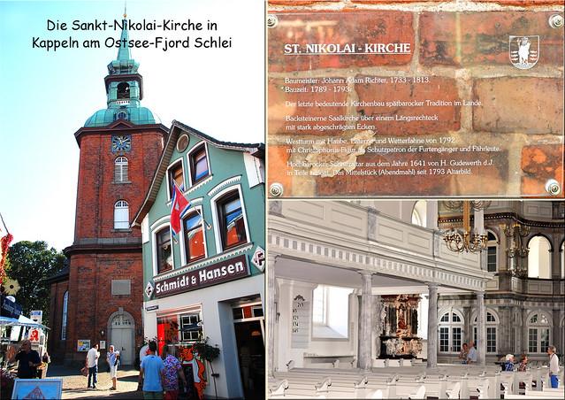 Kappeln ... Kirche St. Nikolai ... nordelbischer Spätbarock ... Schnitzaltar ... Fotos und Fotocollagen: Brigitte Stolle 2016