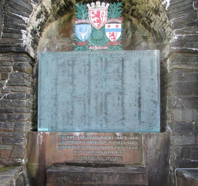 Names on Macrae Memorial, Eilean Donan Castle