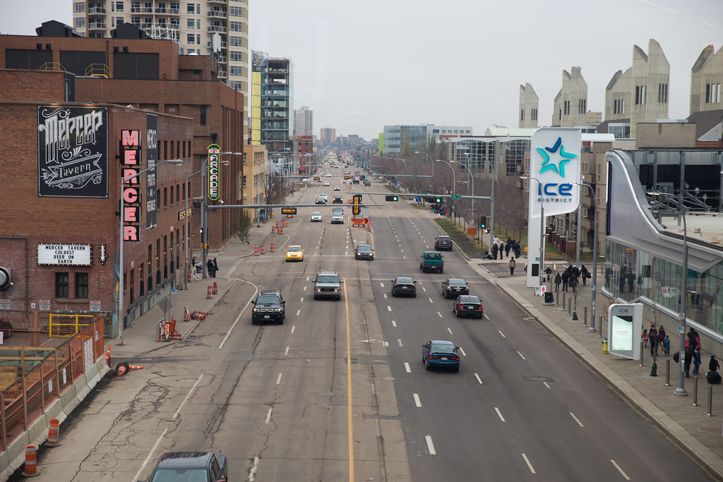 Revitalization had started on 104th Street (to the left in this westward-looking shot of 104th Avenue), before Rogers Place was built.