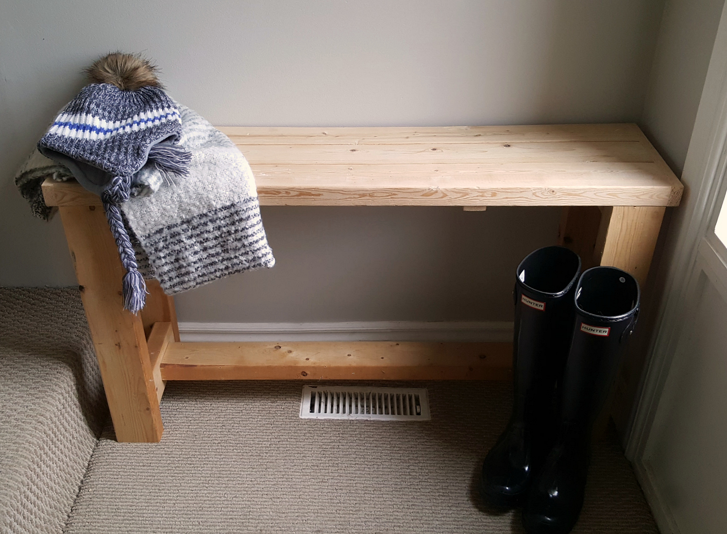 Scrap wood entry bench 2x4