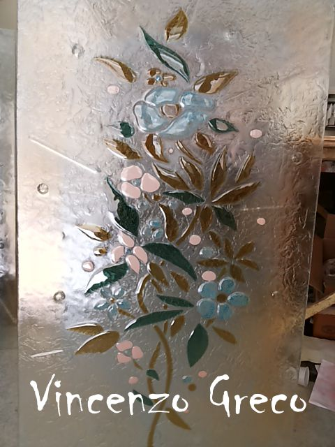 Vetrate per porte vetrofusione floreale di vincenzo greco for Vetrate artistiche per porte interne