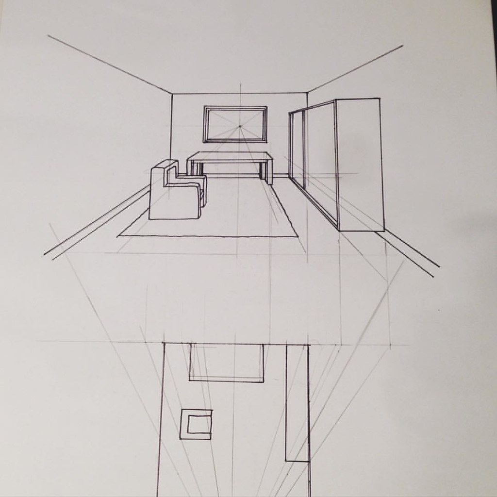 Interior Perspective Drawing In My Course Interior Design Flickr