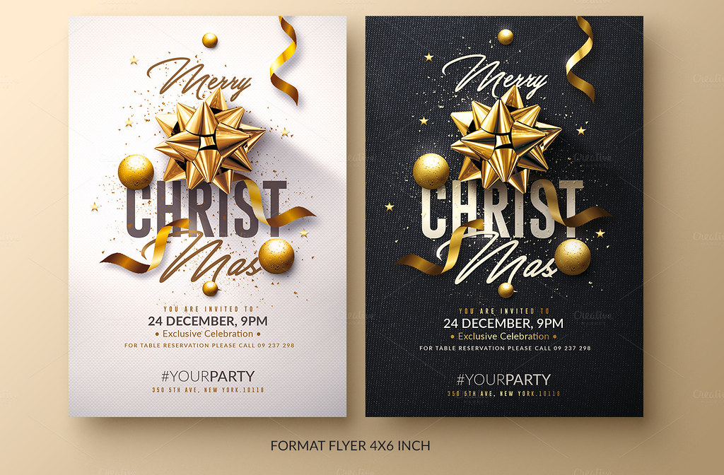 roman menu template - christmas invitation psd package flyer templates