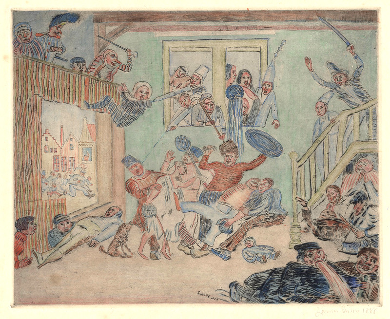James Ensor - The Fight of the Down-and-Outs Desir and Rissole, State 2, 1888