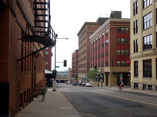 Wall Street near 6th Street, looking south along Wall Street toward Union Depot, in Saint Paul.
