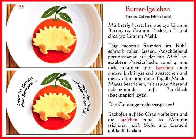 Weihnachtsbacken Weihnachtsgebäck Lieblingsrezepte Ausstecherle Mürbeteig Butterteig Rezept Butter-Igelchen Foto und Collage: Brigitte Stolle