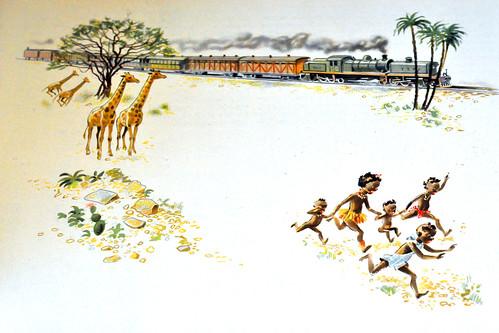 Eisenbahn Zug Die Eisenbahn erobert die Welt Geschichte der Eisenbahn Buch 1948 Zeichnungen Weltkarte Foto Brigitte Stolle Oktober 2015
