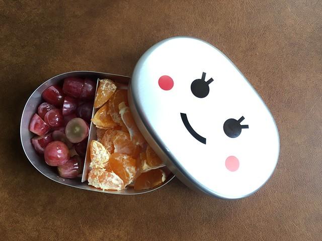 在LOFT買的便當盒,和在博多車站的阪急百貨買到的葡萄、在路邊買的小蜜柑