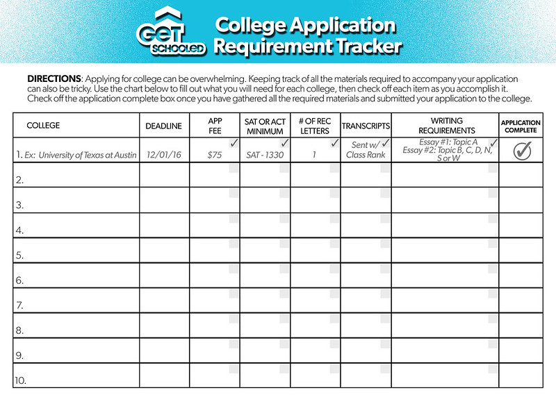 College Application Requirements Tracker  Get Schooled