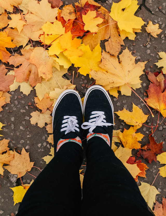 feet standing on yellow leaves