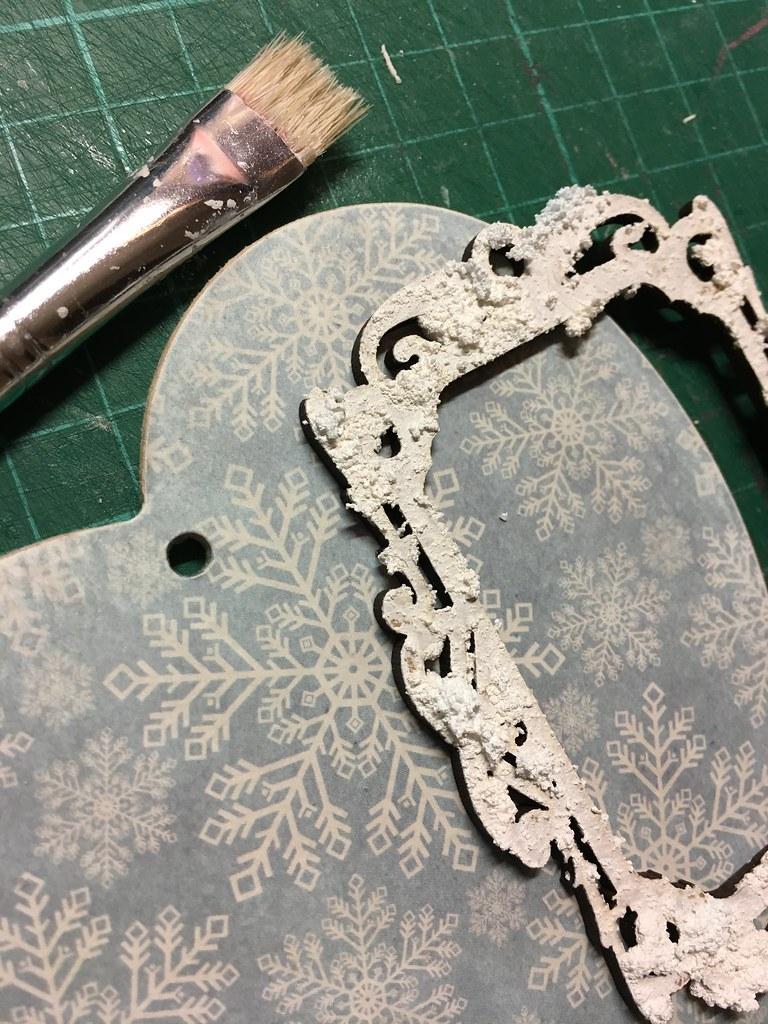 Handmade Christmas Decoration – Decoupaged Heart by StickerKitten. Step 7: Add Snow-tex to wooden frame