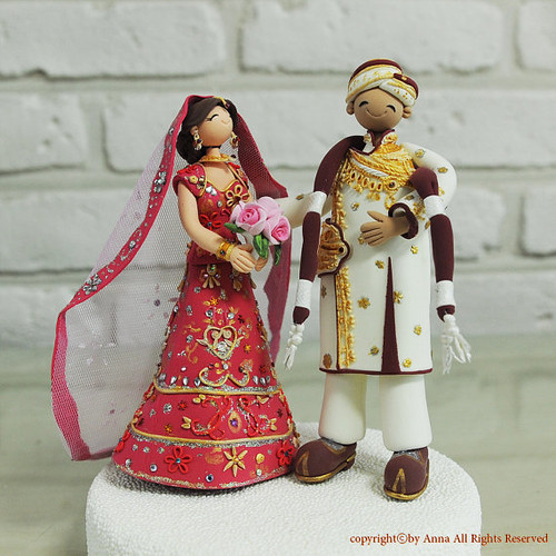 Custom Cake Topper Wedding Cake Topper Indian Traditional Clothes Topper