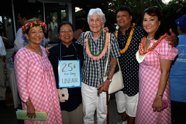 Board member Lella E. Migita, former Executive Director Claire Shimabukuro, founder Irmgard Hormann, David Hormann, and board member Lori Yamane
