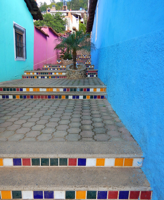 Bright walls with a tiled stairsway in Talpa, one of Mexico's Pueblos Magicos in the Pacific high sierras