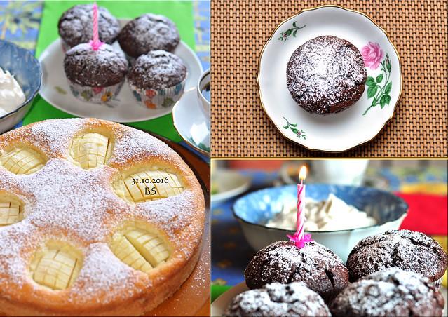31. Oktober 2016. Verschlupfter Apfelkuchen, Kürbis-Schoko-Muffins. Herzlichen Glückwunsch zum Geburtstag ... Fotos und Collagen: Brigitte Stolle
