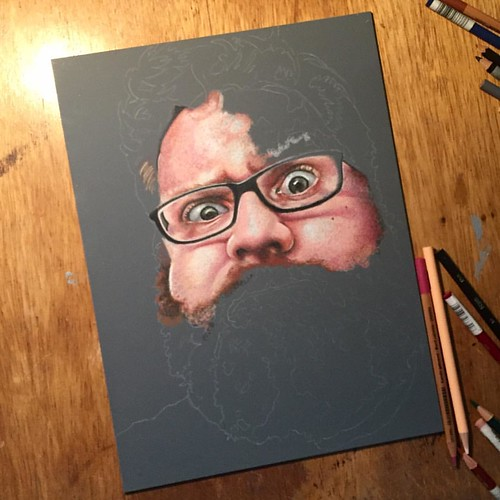 In progress colored pencil portrait entitled Ultranormal III