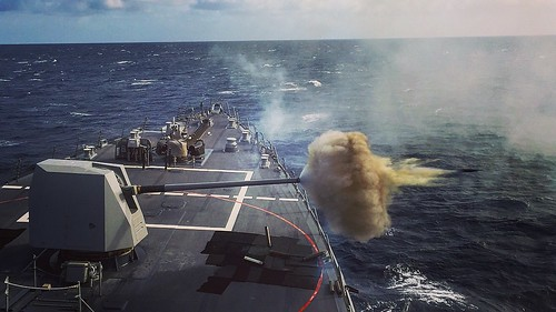 USS Wayne E. Meyer Fires a Round from the MK 45