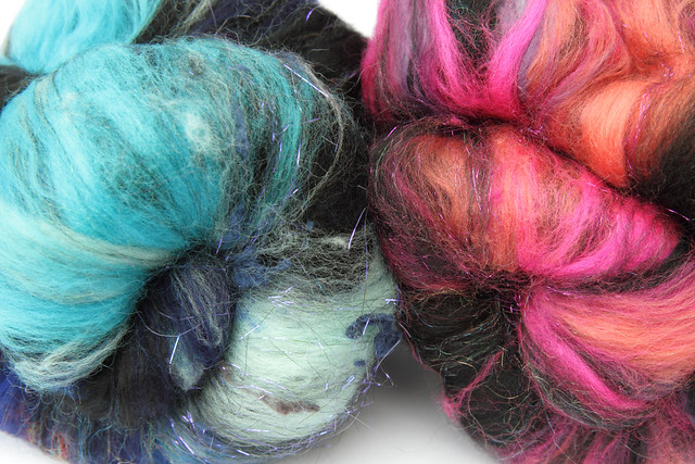 Sparkling spinning fibre batts from Spin City