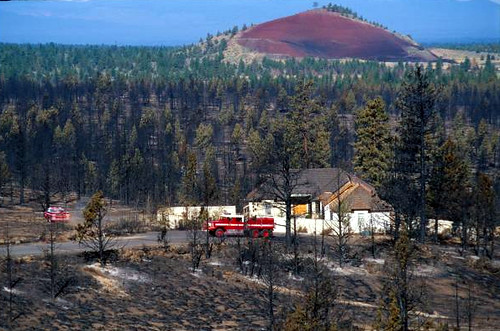 House saved from fire in wildland-urban interface in central Oregon