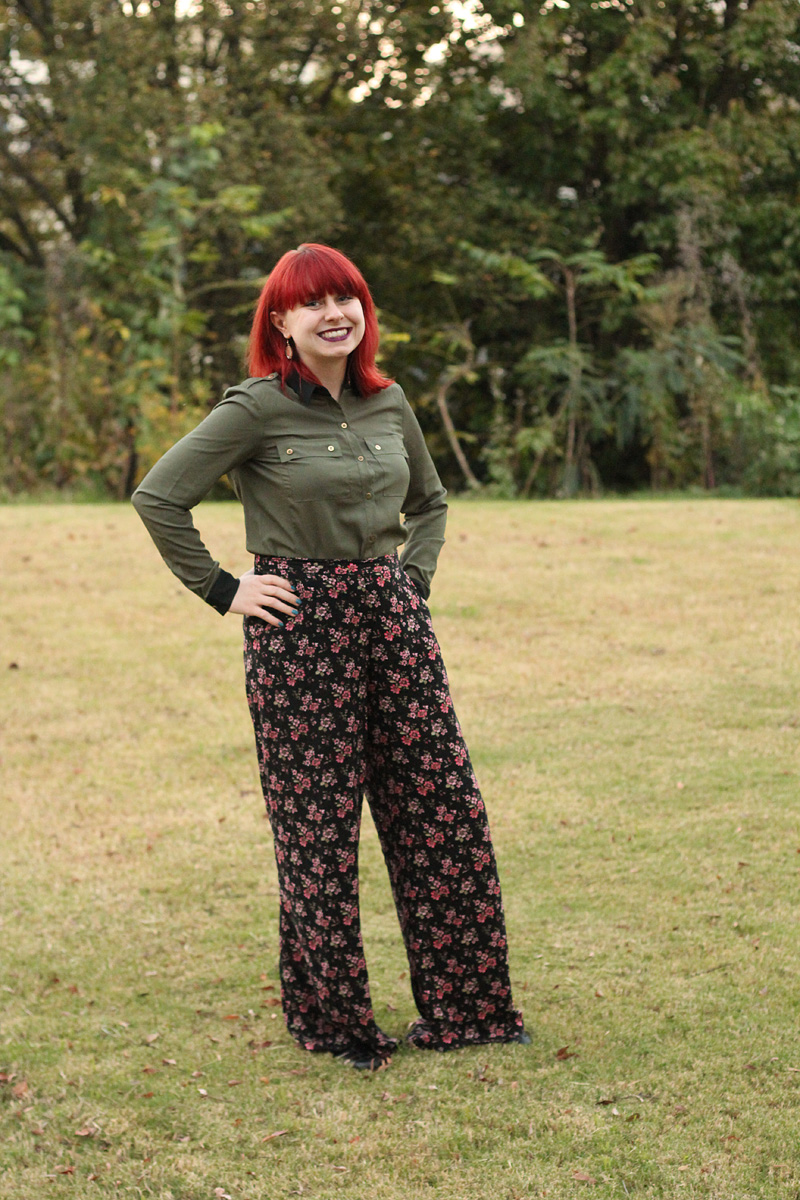 Wide Leg Dark Floral Pants with an Army Green Button Down Shirt