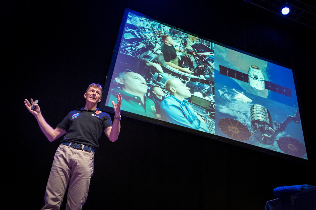 British ESA astronaut Tim Peake on stage at the Portsmouth Principia Schools conference.