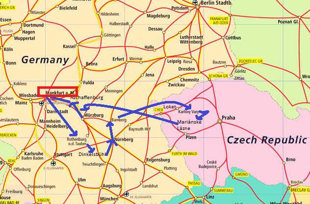 Mapa de la ruta prevista en Alemania y República Checa