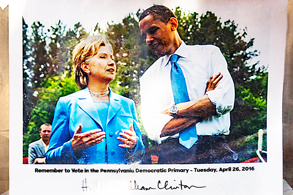 Hillary, Obama and Giroux in window--Passyunk Square (detail)
