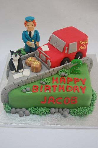 A deluxe version of the Postman Pat Cake, complete with Jess, van and postal items! From £80.