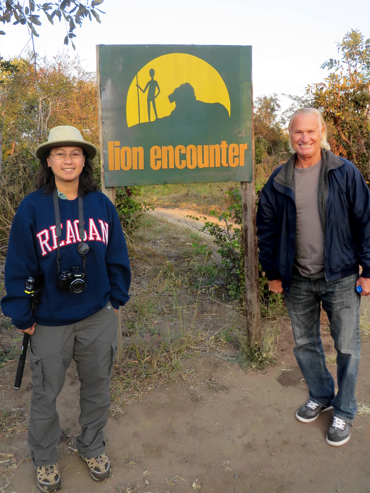 Photo op in front of the Lion Encounter welcome sign
