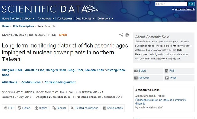 Long-term monitoring dataset of fish assemblages impinged at nuclear power plants in northern Taiwan