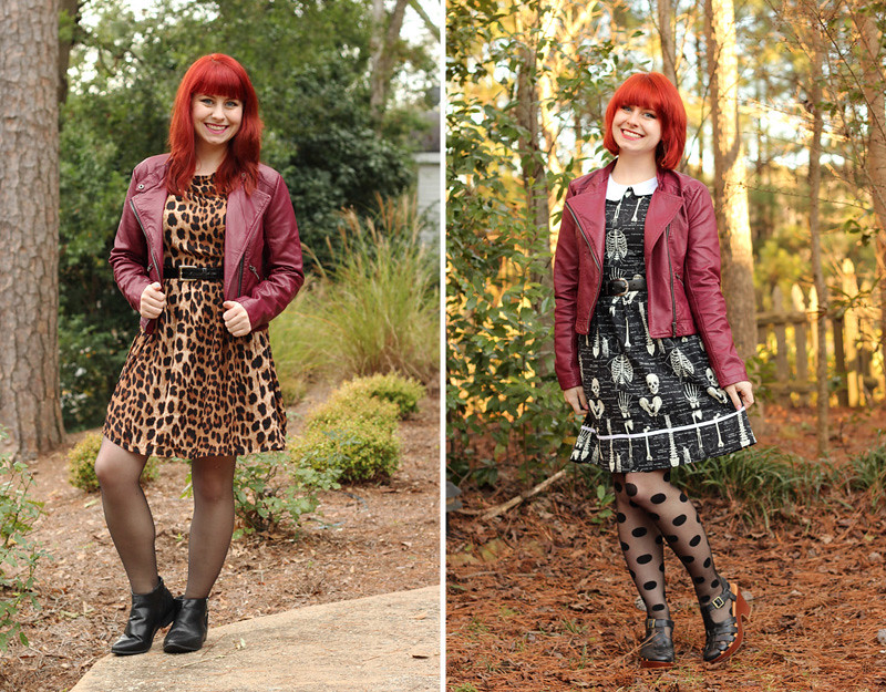Styling a burgundy leather cropped jacket with patterned dresses
