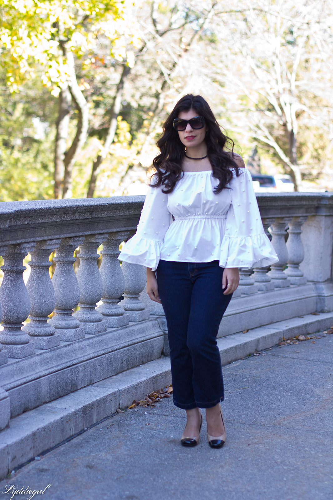 bell sleeve off the shoulder top, flared cropped denim.jpg