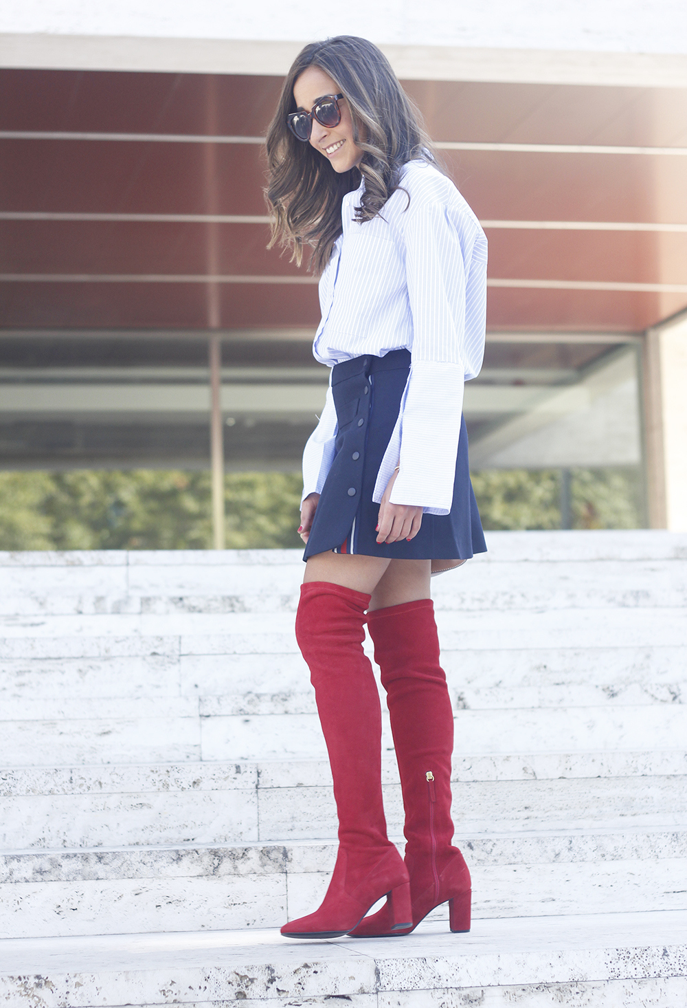 Red over the knee boots blue skirt sunnies accessories outfit style fashion03