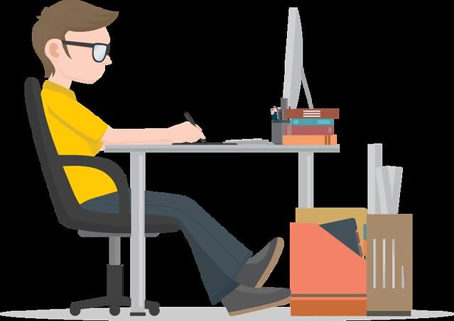 Ilustração: trabalhador na mesa de escritório